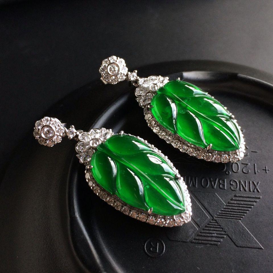 (超值推荐)玻璃种帝王绿镶白金钻石金枝玉叶耳坠
