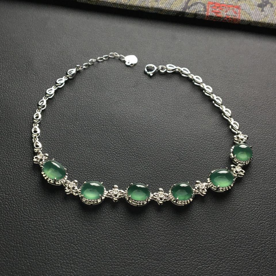 (超值推荐)冰种晴水镶白金钻石手链(单价)