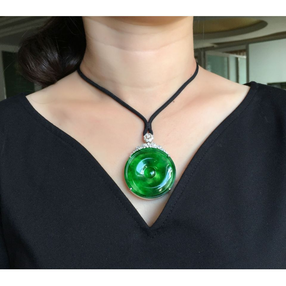 (超值推荐)镶白金钻石冰种深绿平安扣胸坠