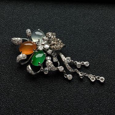 (超值推荐)镶白金钻石冰种三彩胸坠
