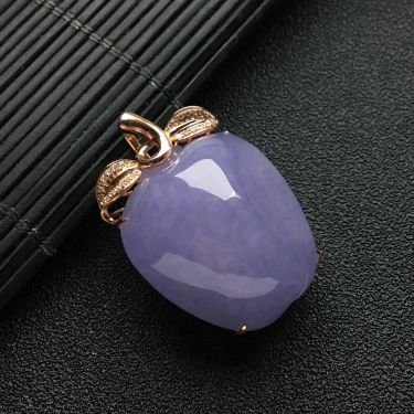 (超值推荐)镶玫瑰金钻石糯冰种紫罗兰苹果胸坠