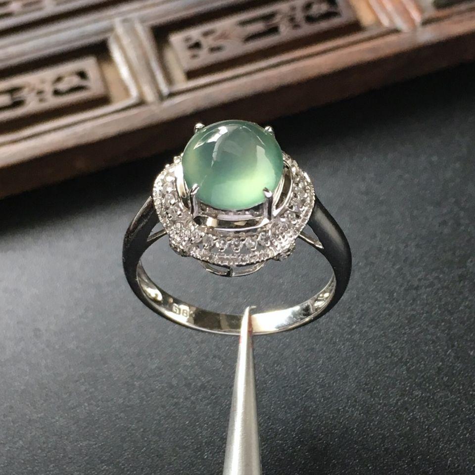 (超值推荐)冰种晴水镶白金钻石戒指