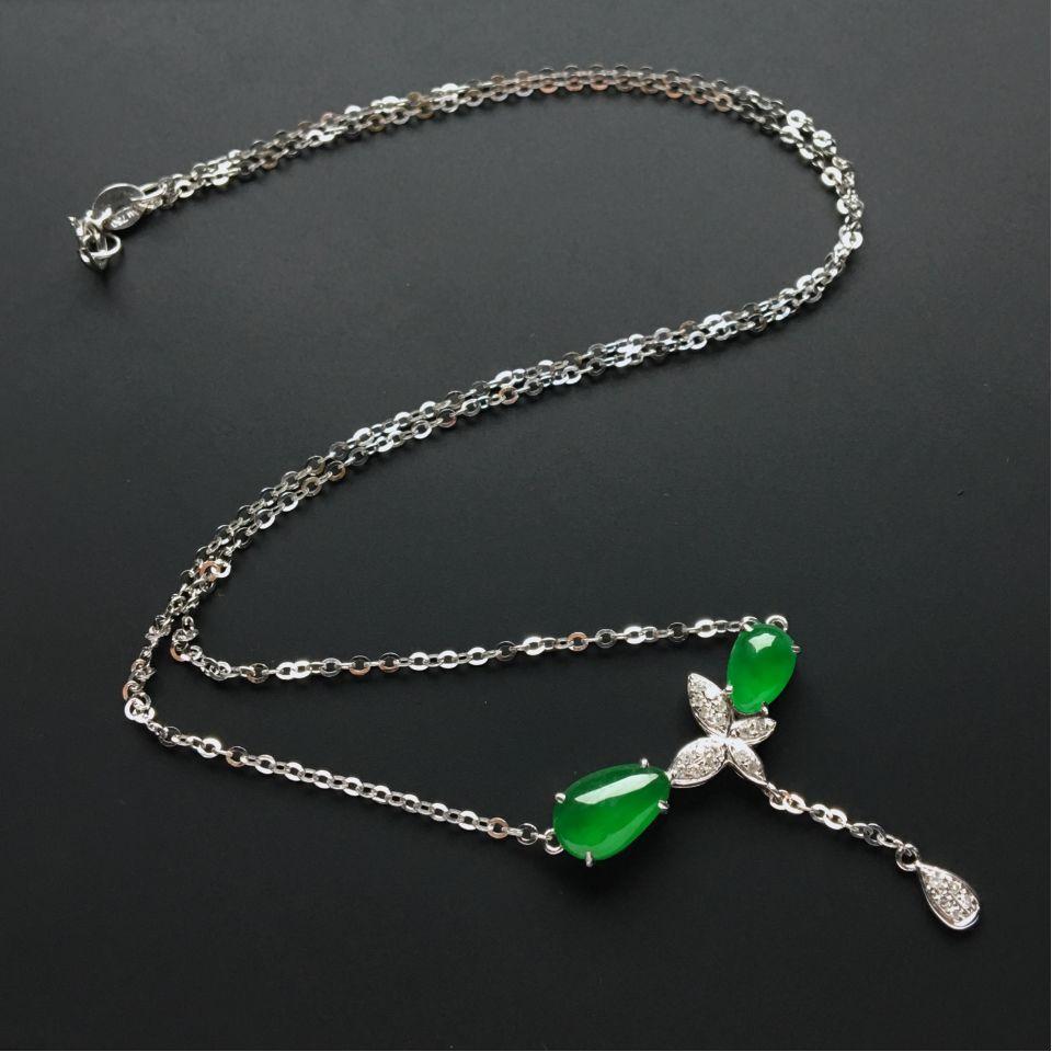 (超值推荐)镶白金钻石冰种阳绿项链