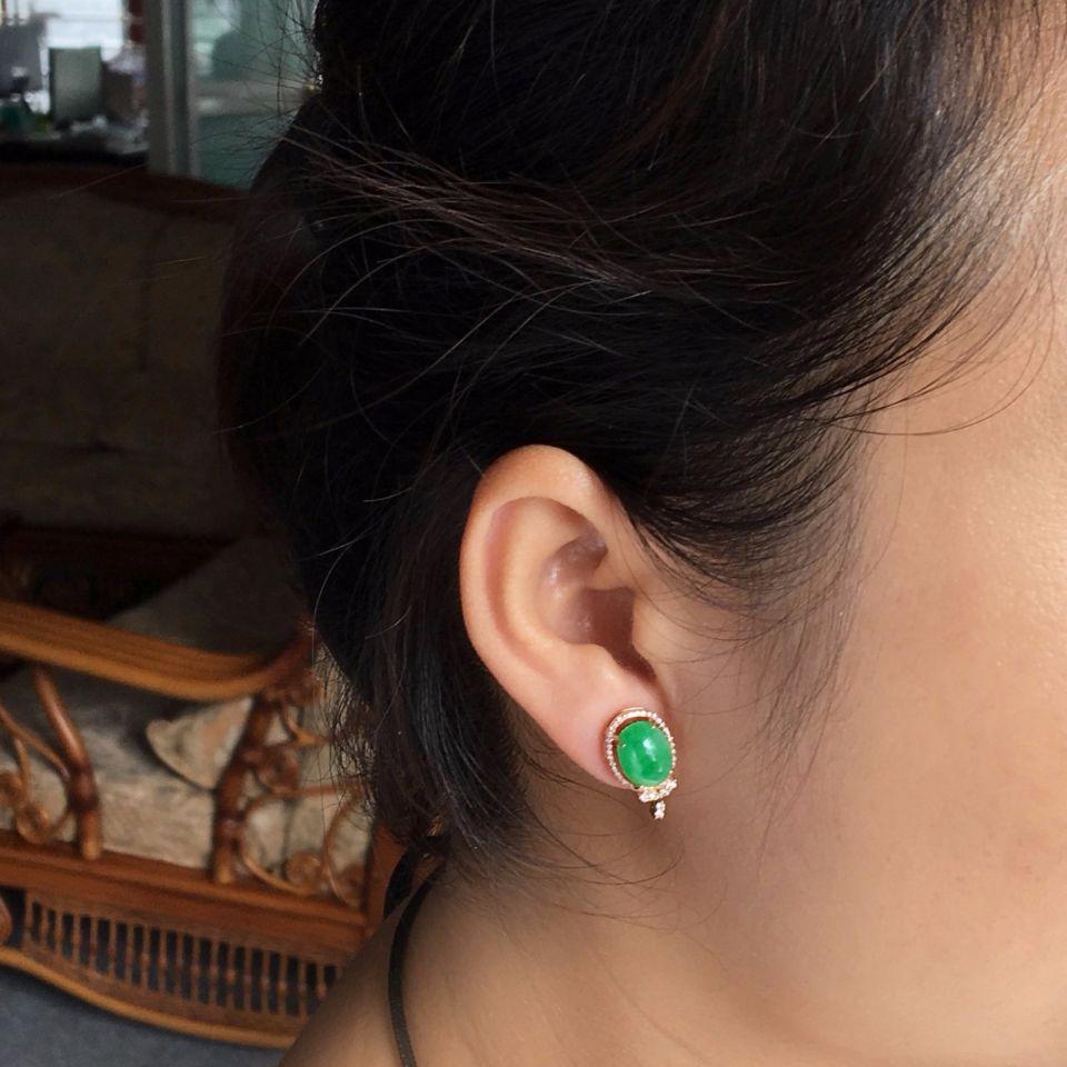 (超值推荐)镶玫瑰金钻石冰种苹果绿戒指/耳钉(一套)