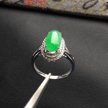 (超值推荐)冰种飘翠镶白金钻石戒指