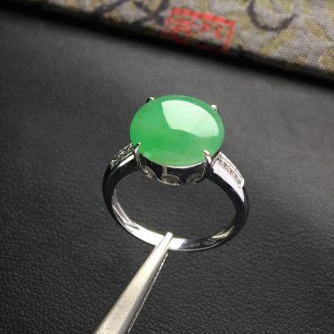 (超值推荐)糯冰种飘翠镶白金钻石戒指
