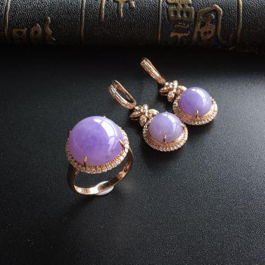 (超值推荐)糯冰种紫罗兰镶玫瑰金钻石戒指/耳坠(一套)