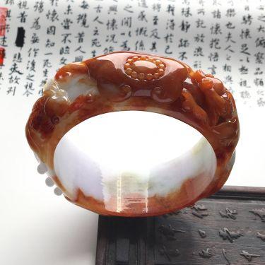 (超值推荐)糯冰种褐红黄翡金玉满堂雕花手镯(57.8mm)