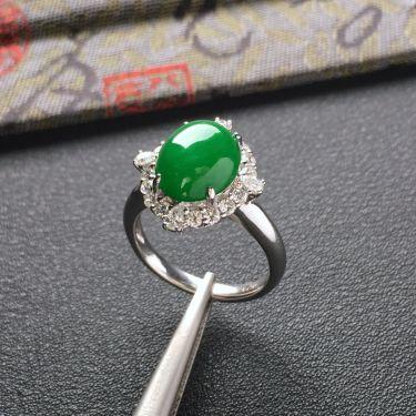 (超值推荐)镶白金钻石糯冰种阳绿戒指
