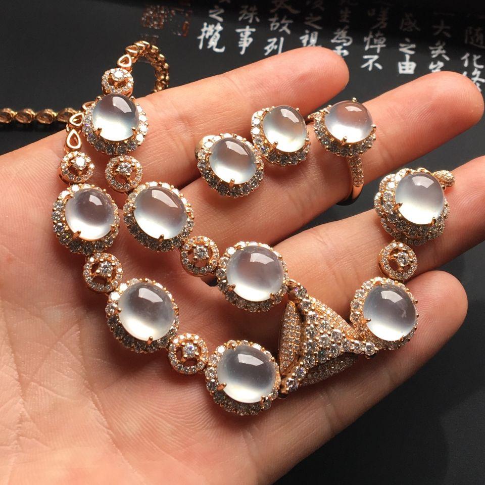 (超值推荐)镶玫瑰金钻石冰玻种无色项链/戒指/耳钉(一套)