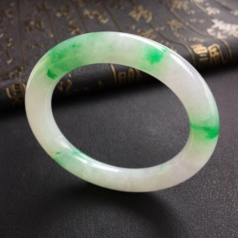 糯冰种飘翠圆条手镯(54.3mm)