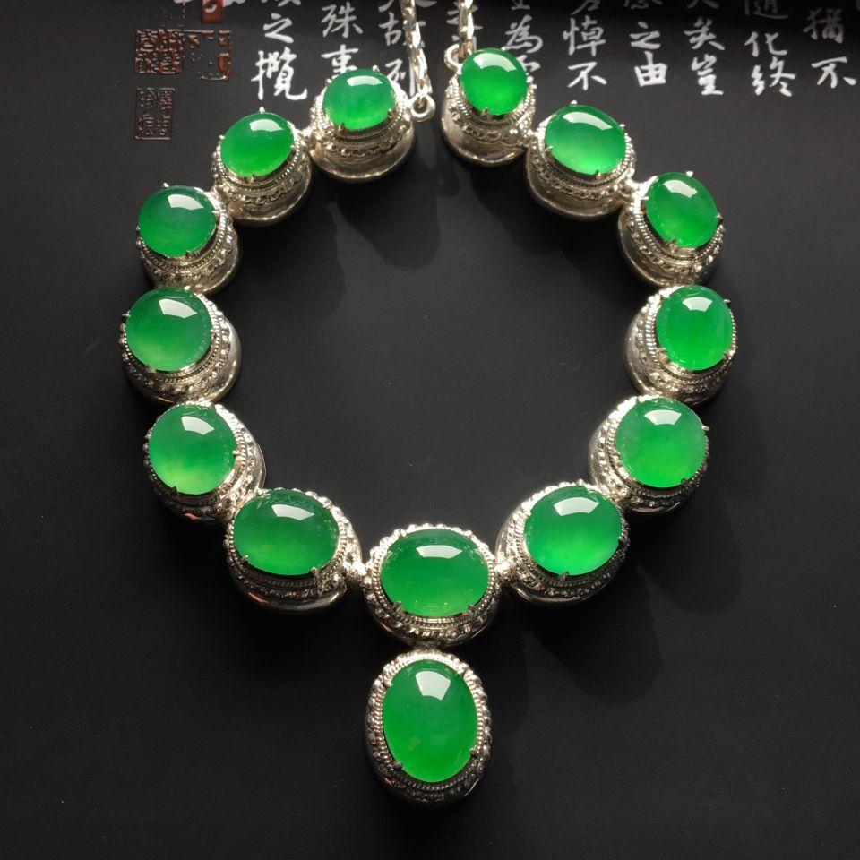 冰种阳绿/翠色项链面