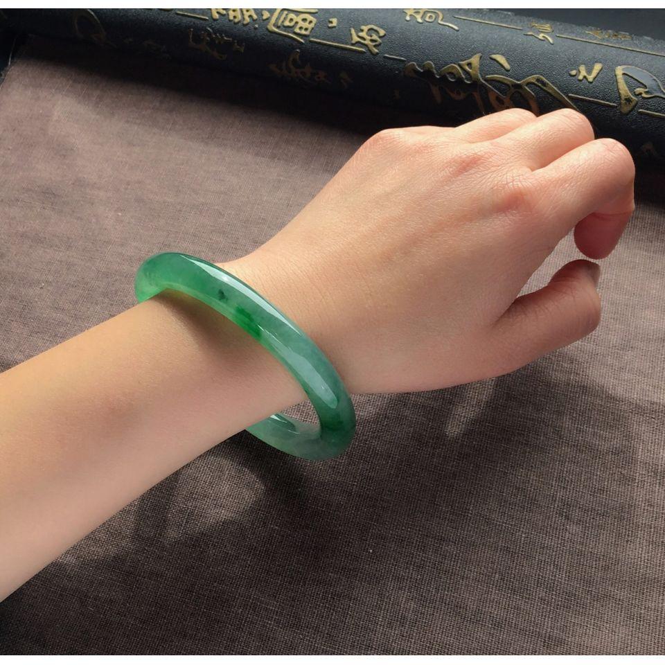 冰种晴水飘翠圆条手镯(59.2mm)