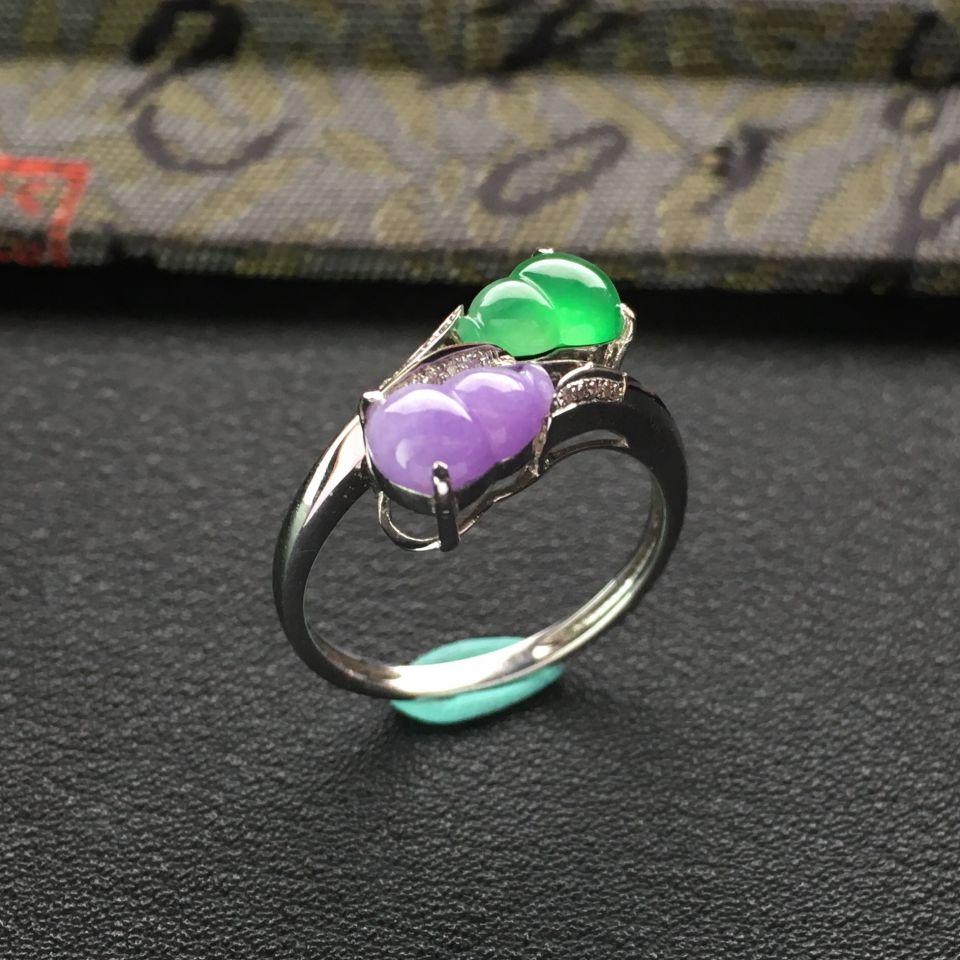 冰种翠色/糯冰种紫罗兰镶白金戒指