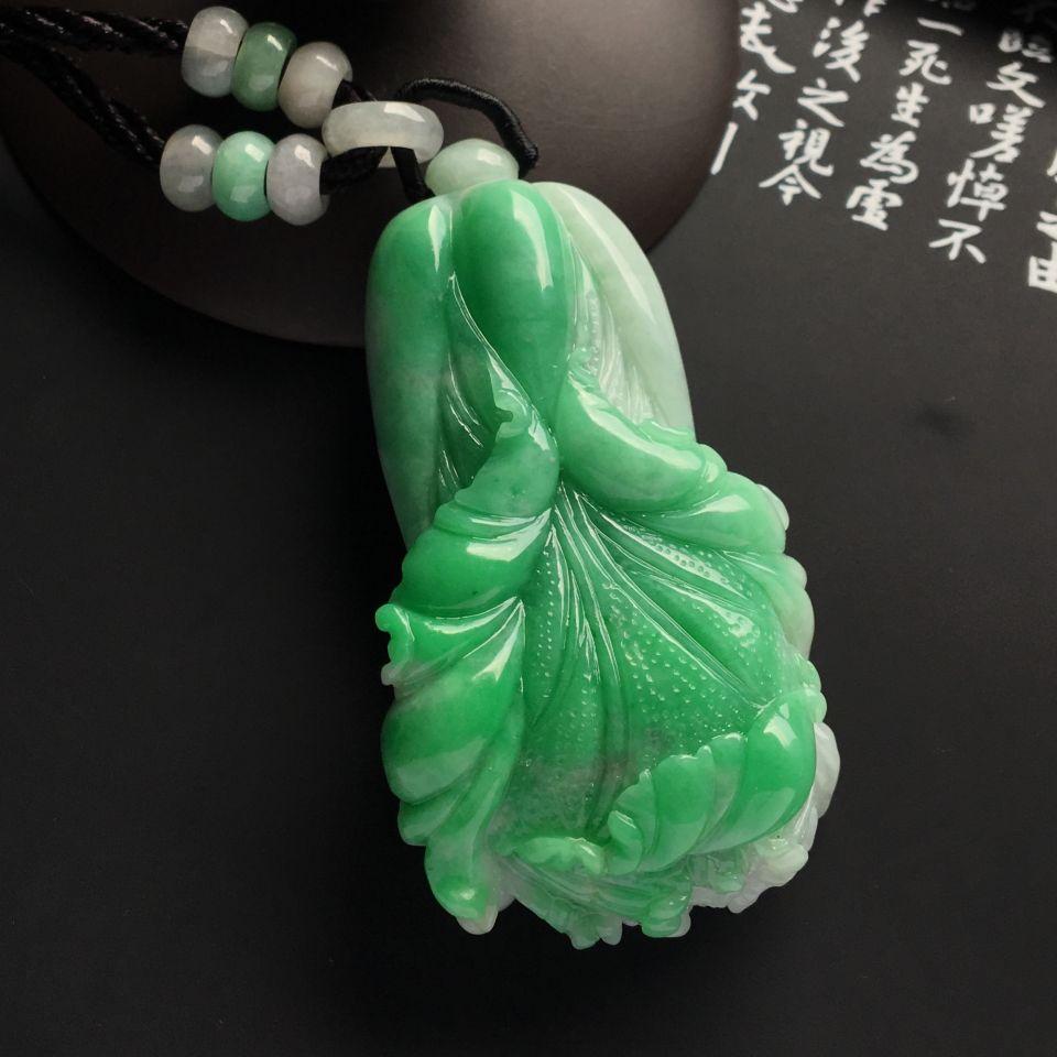 糯冰种飘翠白菜挂件