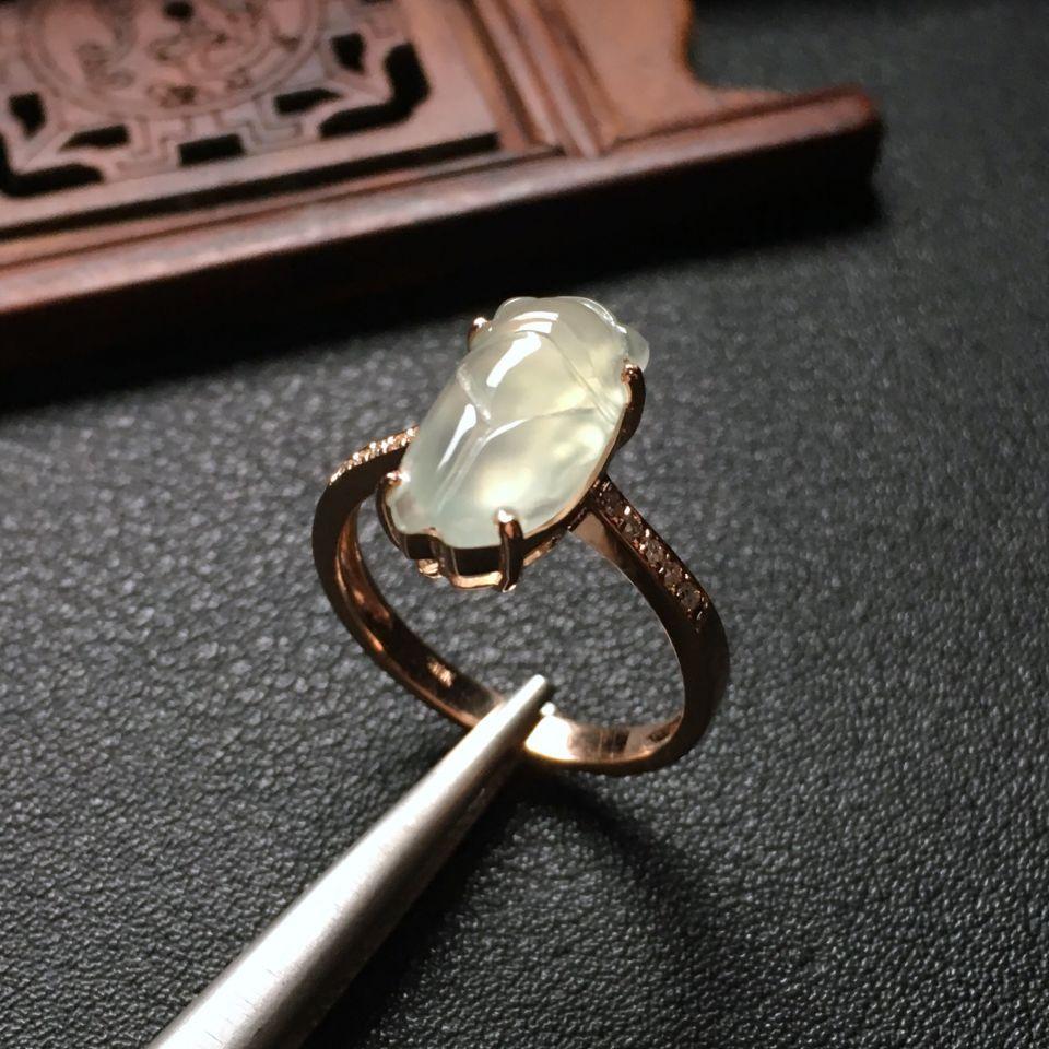 冰种淡晴水镶玫瑰金钻石一鸣惊人戒指