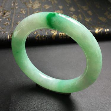 糯冰种飘翠圆条手镯(57.5mm)