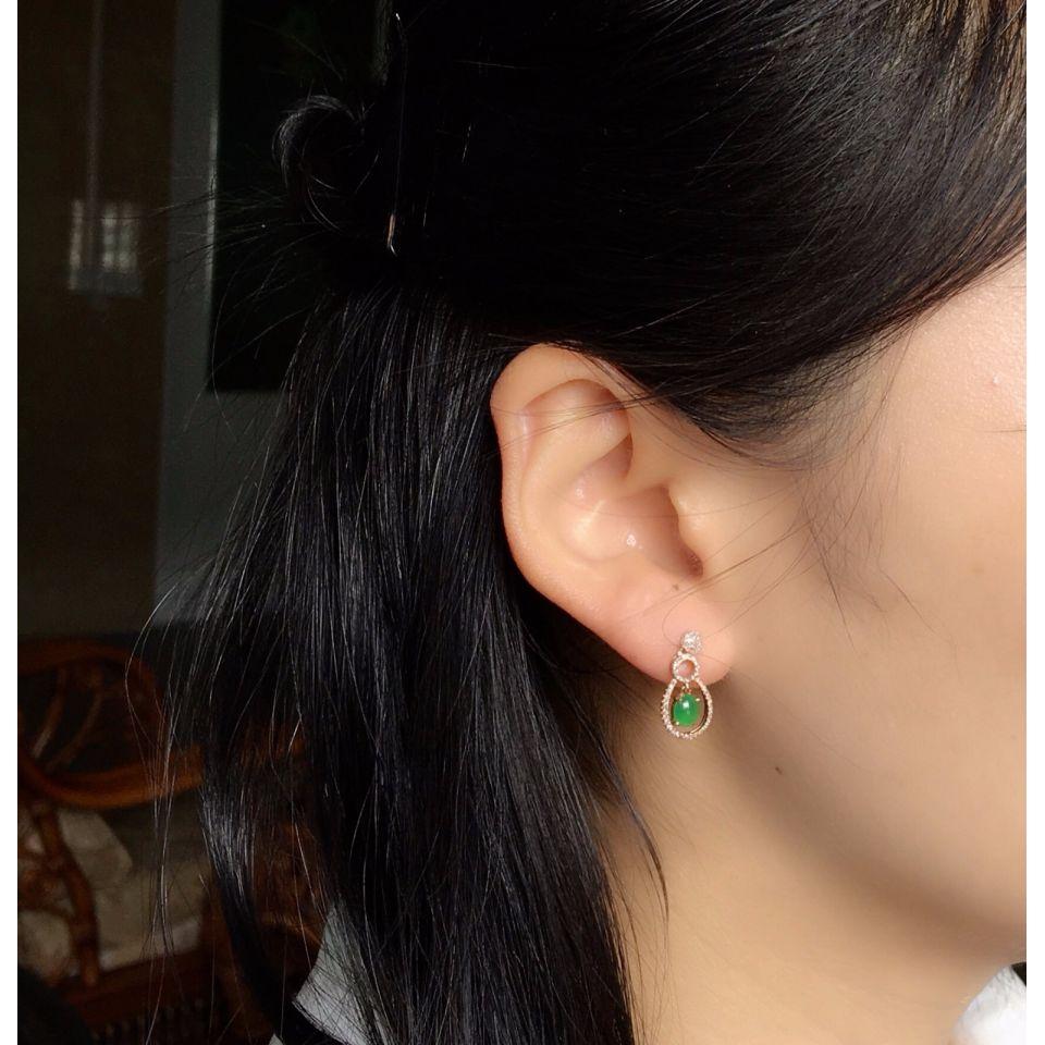 镶玫瑰金钻石冰种绿晴水耳坠