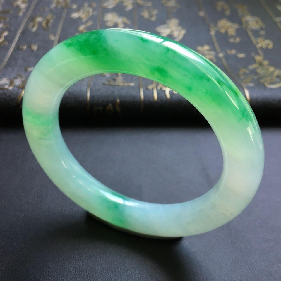 糯冰种飘翠圆条手镯(54.5mm)