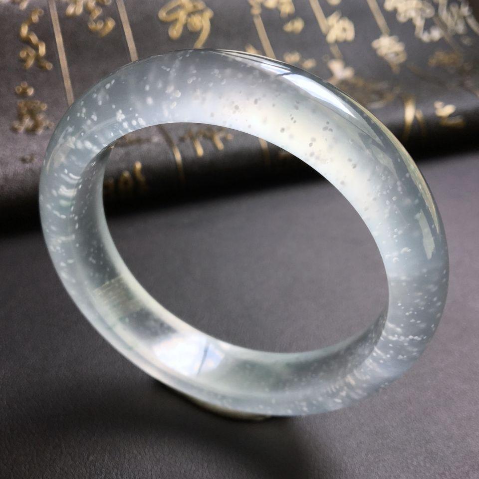木那料冰玻种略飘花手镯(54.5mm)