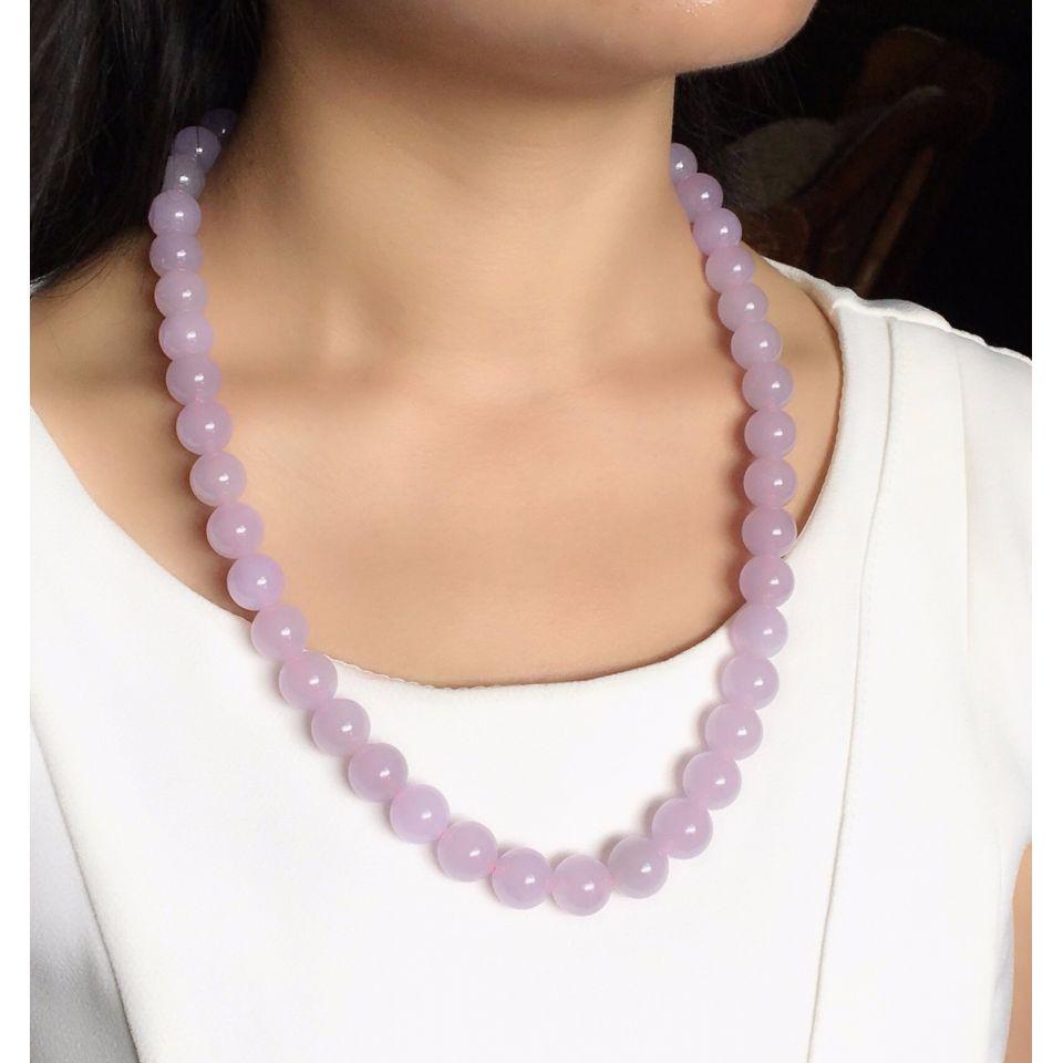 冰种/糯冰种淡紫罗兰圆珠项链