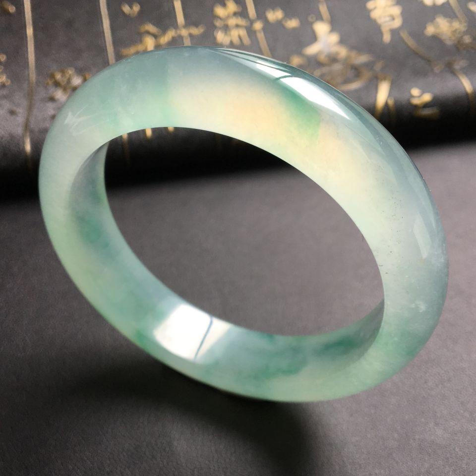 冰种飘绿花手镯(57mm)