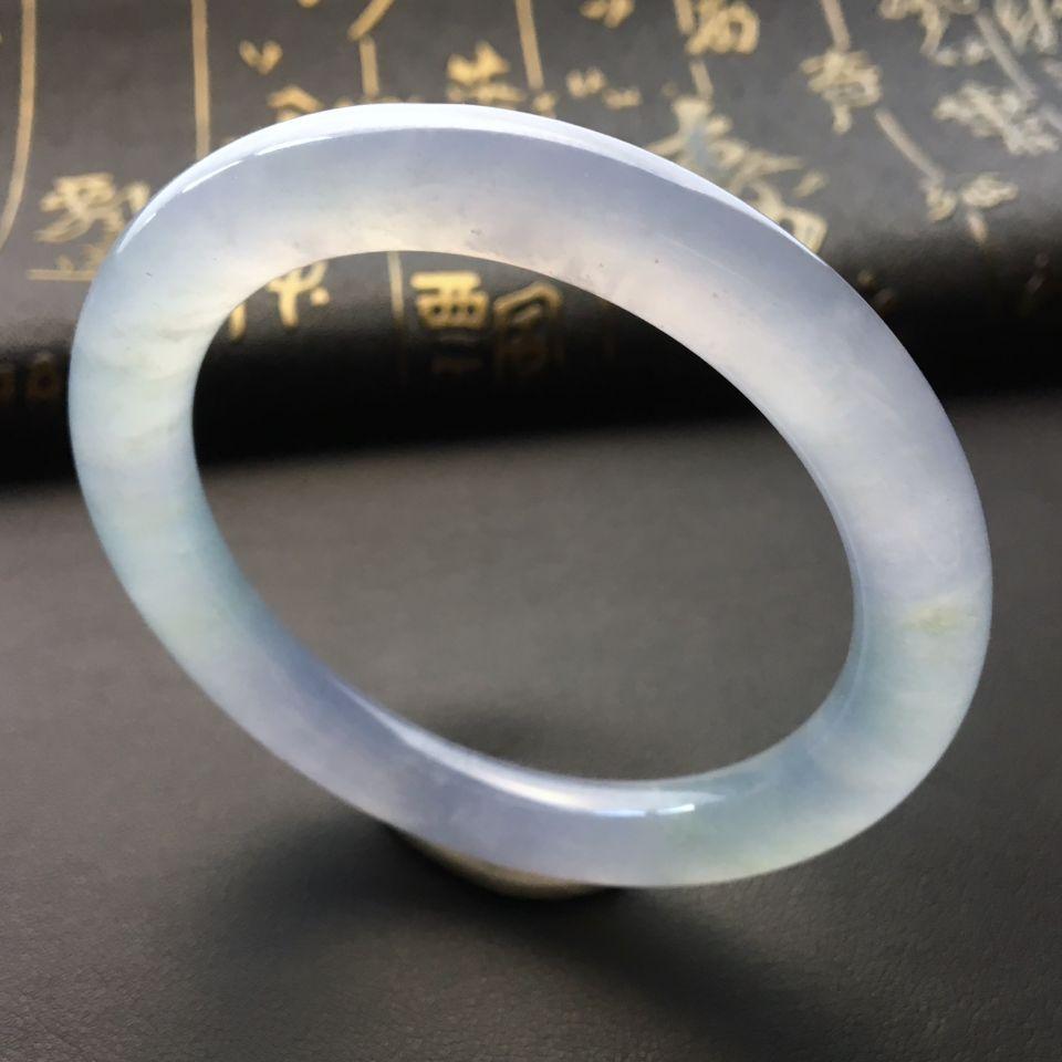 冰种淡紫罗兰圆条手镯(55.3mm)