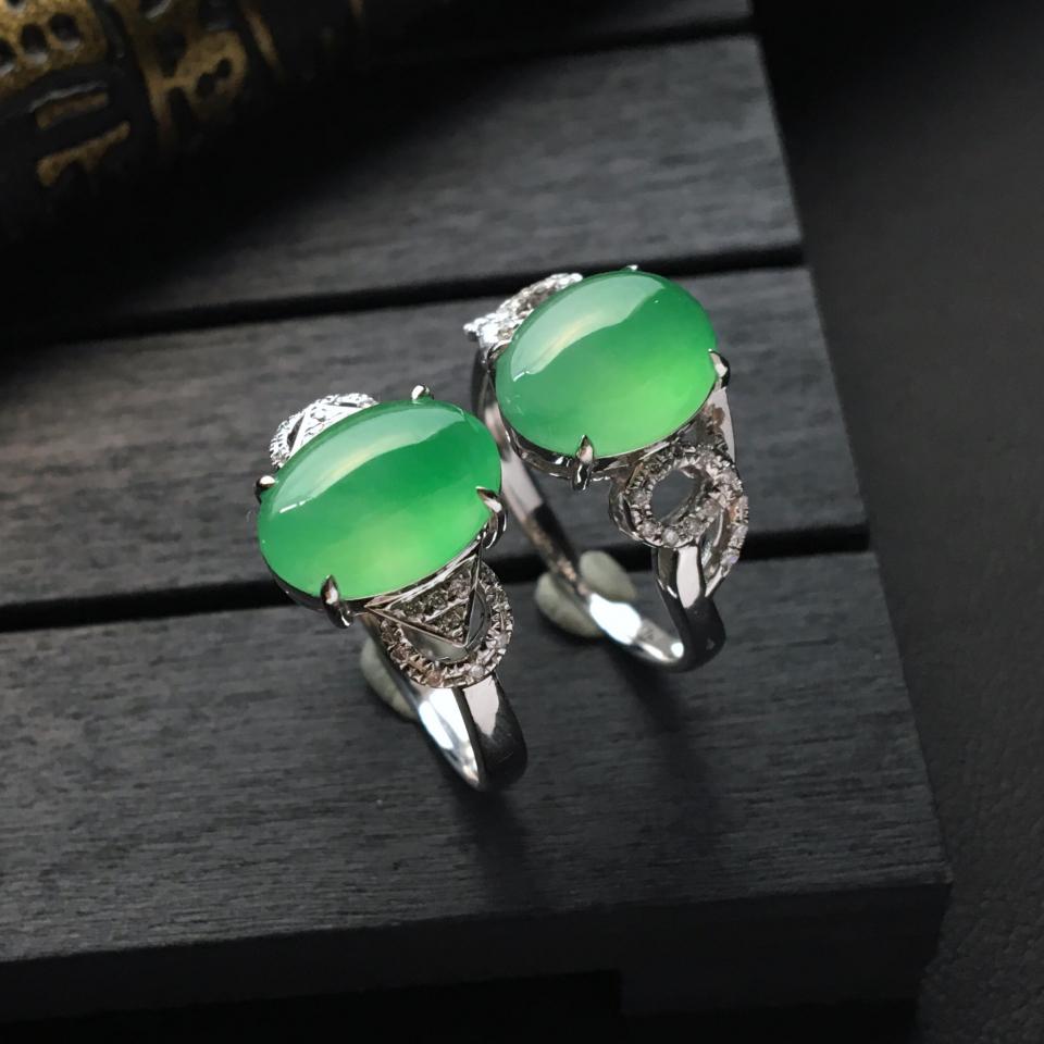 冰种略飘翠镶白金钻石戒指(单价)