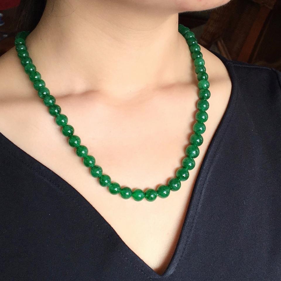 冰种/糯冰种深绿圆珠项链
