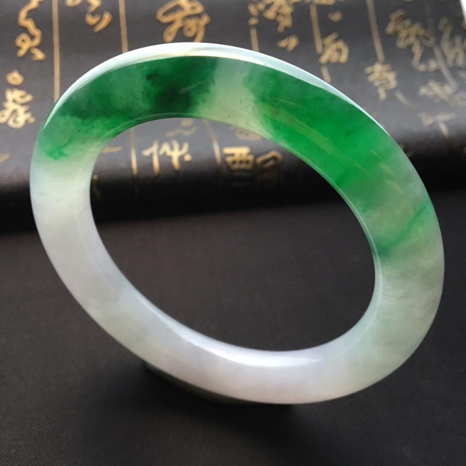 糯冰种飘翠圆条手镯(59.5mm)