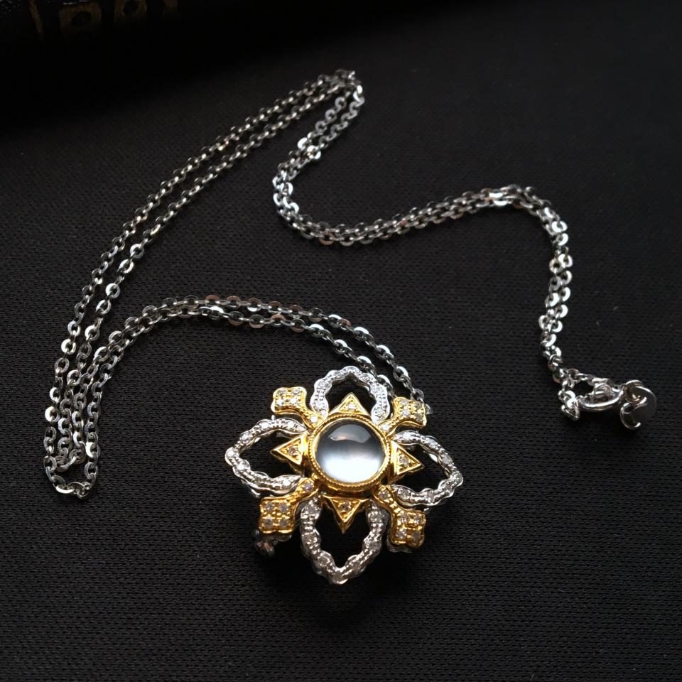 玻璃种无色镶彩金钻石雪花胸坠/胸针(含金链)
