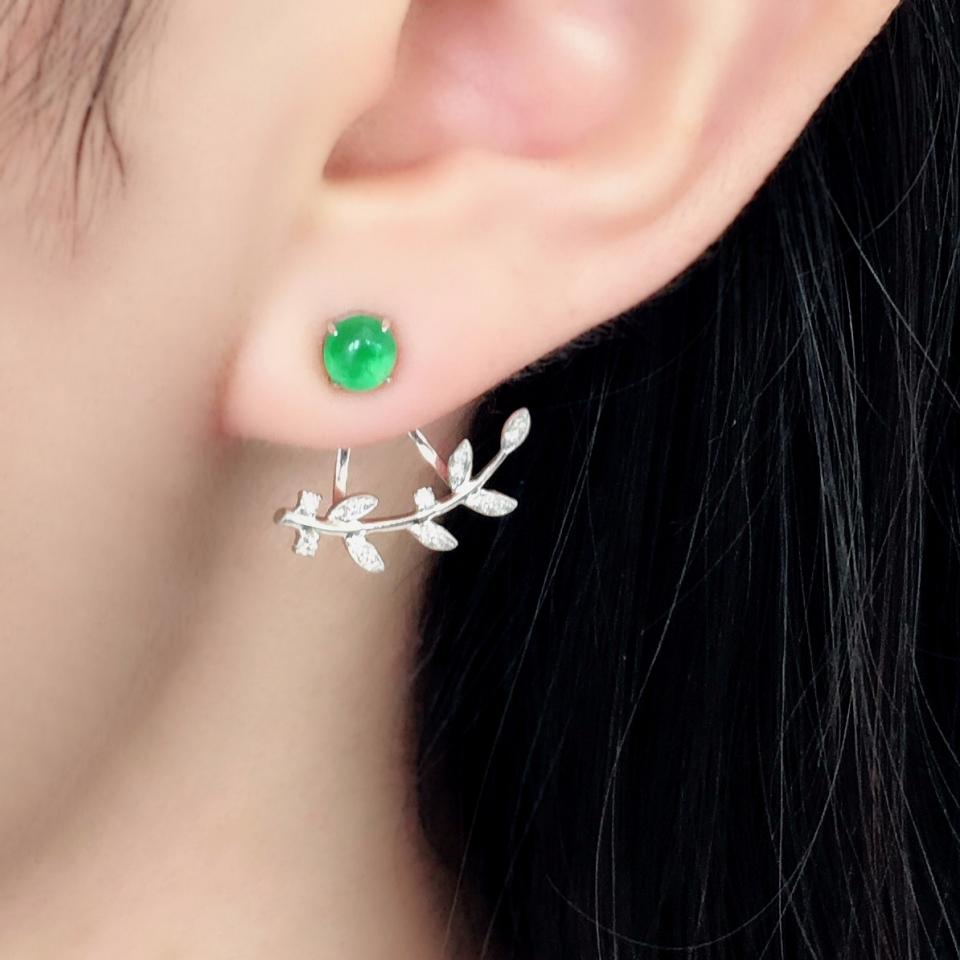 冰种翠色镶白金钻石设计款耳钉一对
