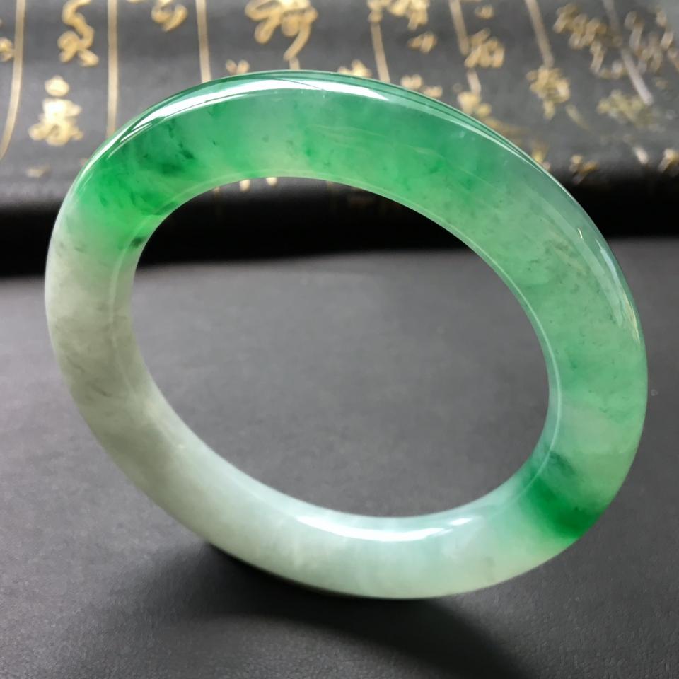糯冰种晴水飘翠圆条手镯(57.4mm)